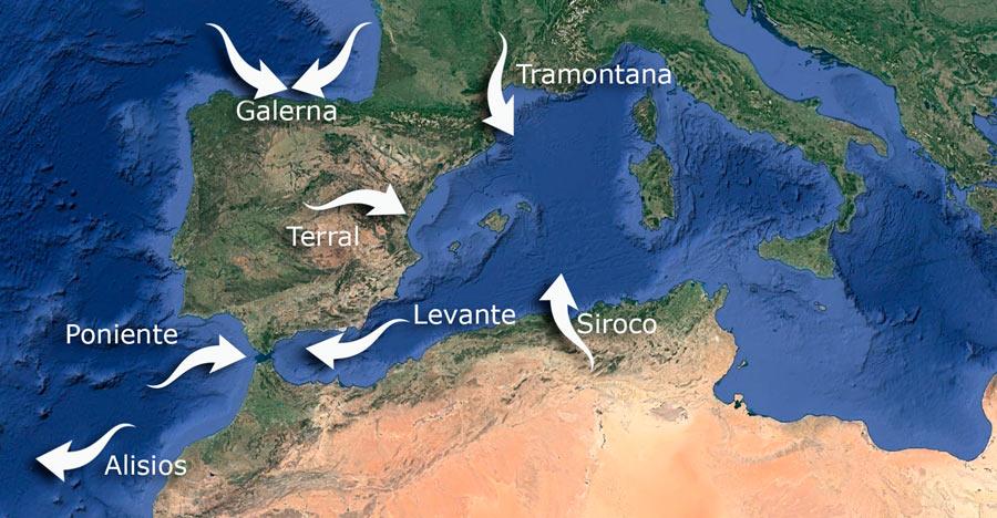 Mapa de Los Vientos de España