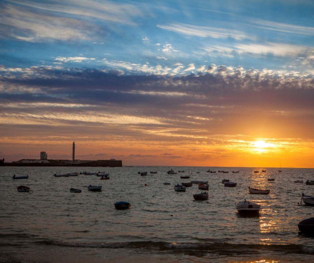 Atardecer en la bahía de Cádiz